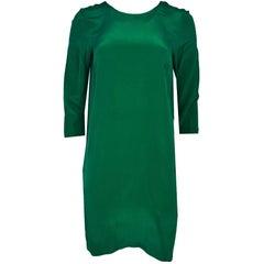 Nieves Lavi Green Silk Dress Sz 6