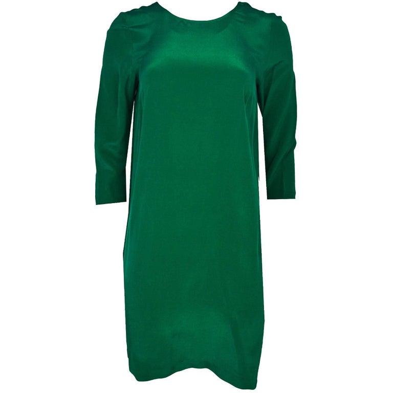 Nieves Lavi Green Silk Dress Sz 6 For Sale