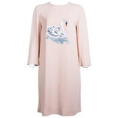 Stella McCartney Women Pink Swan Embroidered Long Sleeve Dress