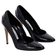Black Manolo Blahnik Leather & Tweed Pumps