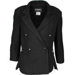 Chanel Black Waffled Metallic Double-Breasted Jacket Sz FR44