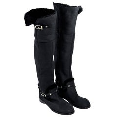 Black Jimmy Choo Shearling Over-The-Knee Boots