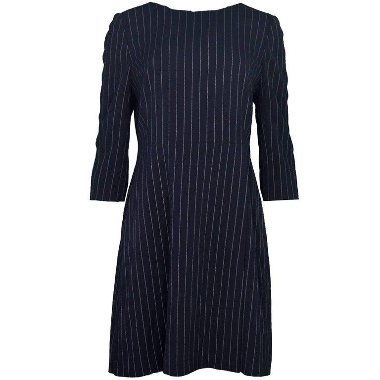 Hobbs Navy Pinstripe Dress Sz 10 NWT