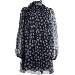 Dolce&Gabbana Womens Black White Silk Floral Print Blouse