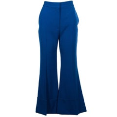 Stella McCartney Women's Blue Wool Cuffed Wide Leg Trousers