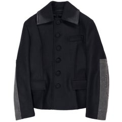 Prada Black Wool Denim Trimmed Patch Single Row Buttons Peacoat
