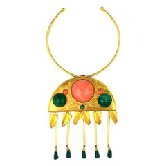 De Lillo Faux Coral and Malachite Pendant