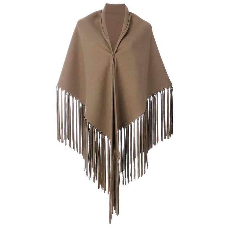 Hermès Beige Fringed Vintage Shawl, 2000s For Sale