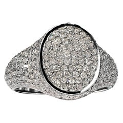 Liza Beth Shimmering Diamond Signet Rhodium Silver Ring