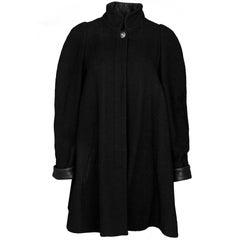 Chanel Black Wool Boucle Swing Coat Sz FR38