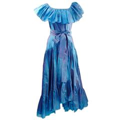 1970s Yves Saint Laurent High Low Ruffle Dress