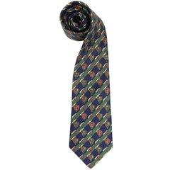 Hermès Multicolor Printed Vintage Silk Tie, 2000s