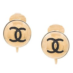 Chanel Gold CC Black Round Ball Evening Stud Earrings