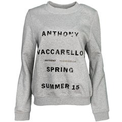 Anthony Vaccarello Grey Spring/Summer '15 Print Sweatshirt Sz FR42 NWT