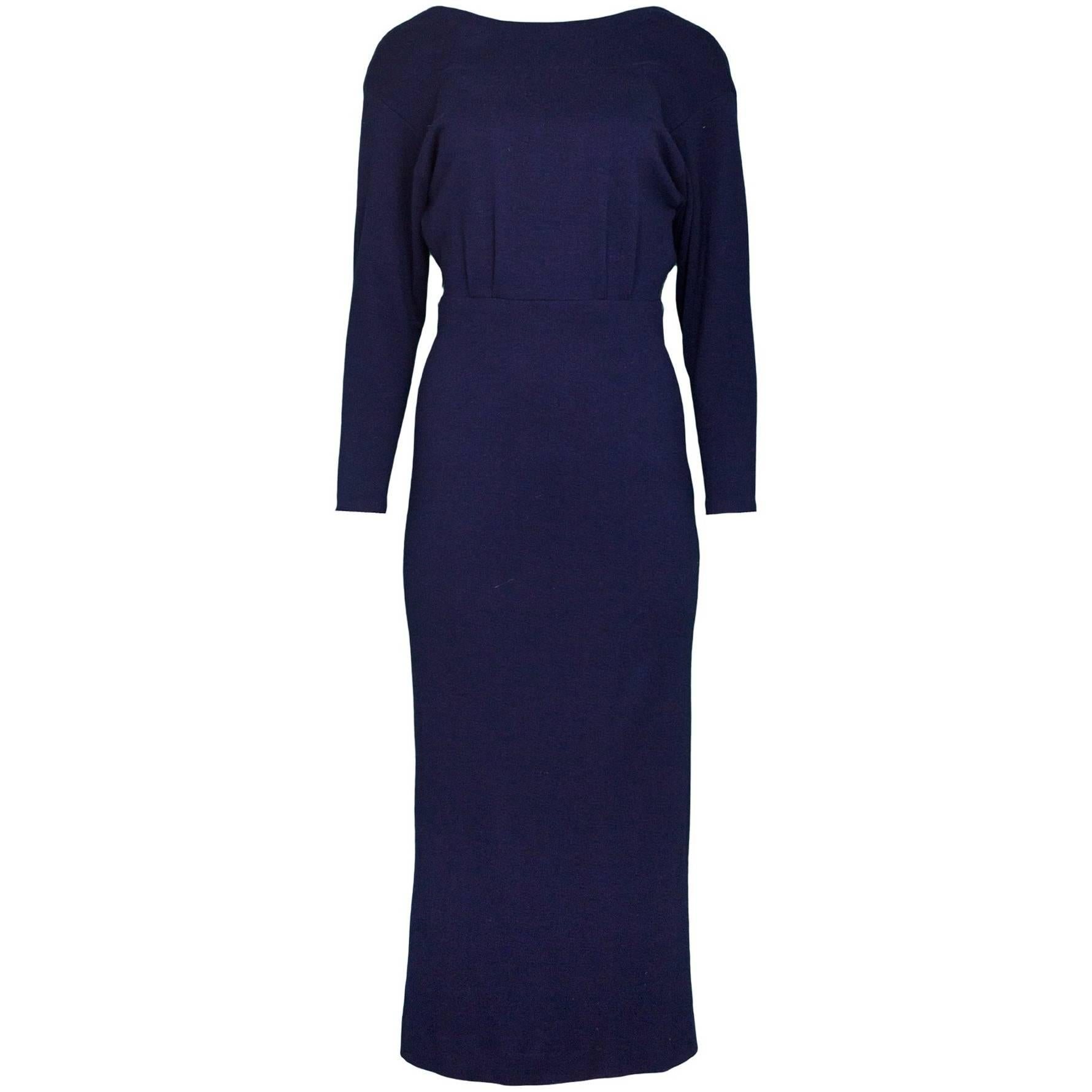 Ralph Lauren Navy Cashmere Dolman Sleeve Dress Sz 4