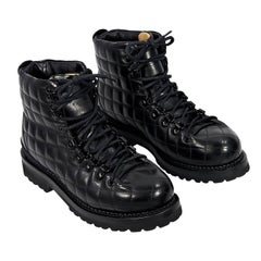 Black Buttero Quilted Leather Combat Boots
