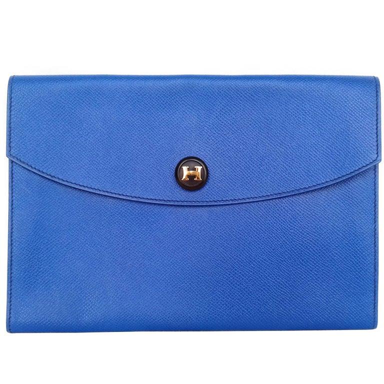 Hermes Rio Pochette Clutch Envelope Bag Blue Couchevel Leather Ghw 24 cm