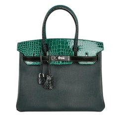 Hermes Birkin 30 Bag Limited Edition Patchwork Emerald Green Crocodile