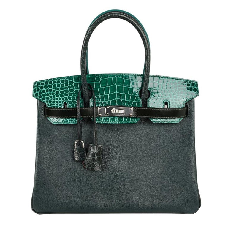 caabe00240ce Hermes Birkin 30 Bag Limited Edition Patchwork Emerald Green Crocodile For  Sale