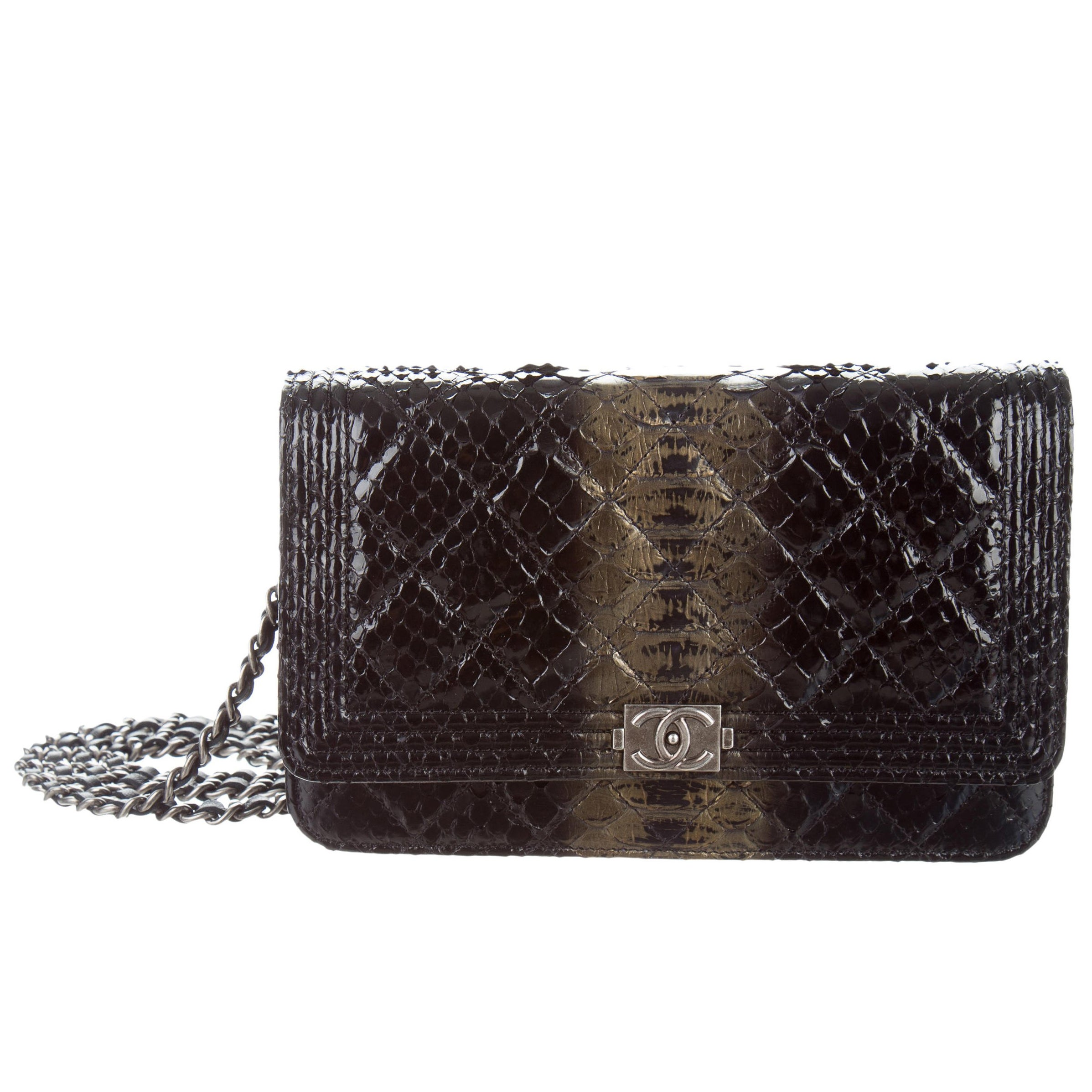 8ab25a3dff2e Chanel Like New Black Gold Python Exotic Leather WOC Shoulder Flap Bag For  Sale at 1stdibs