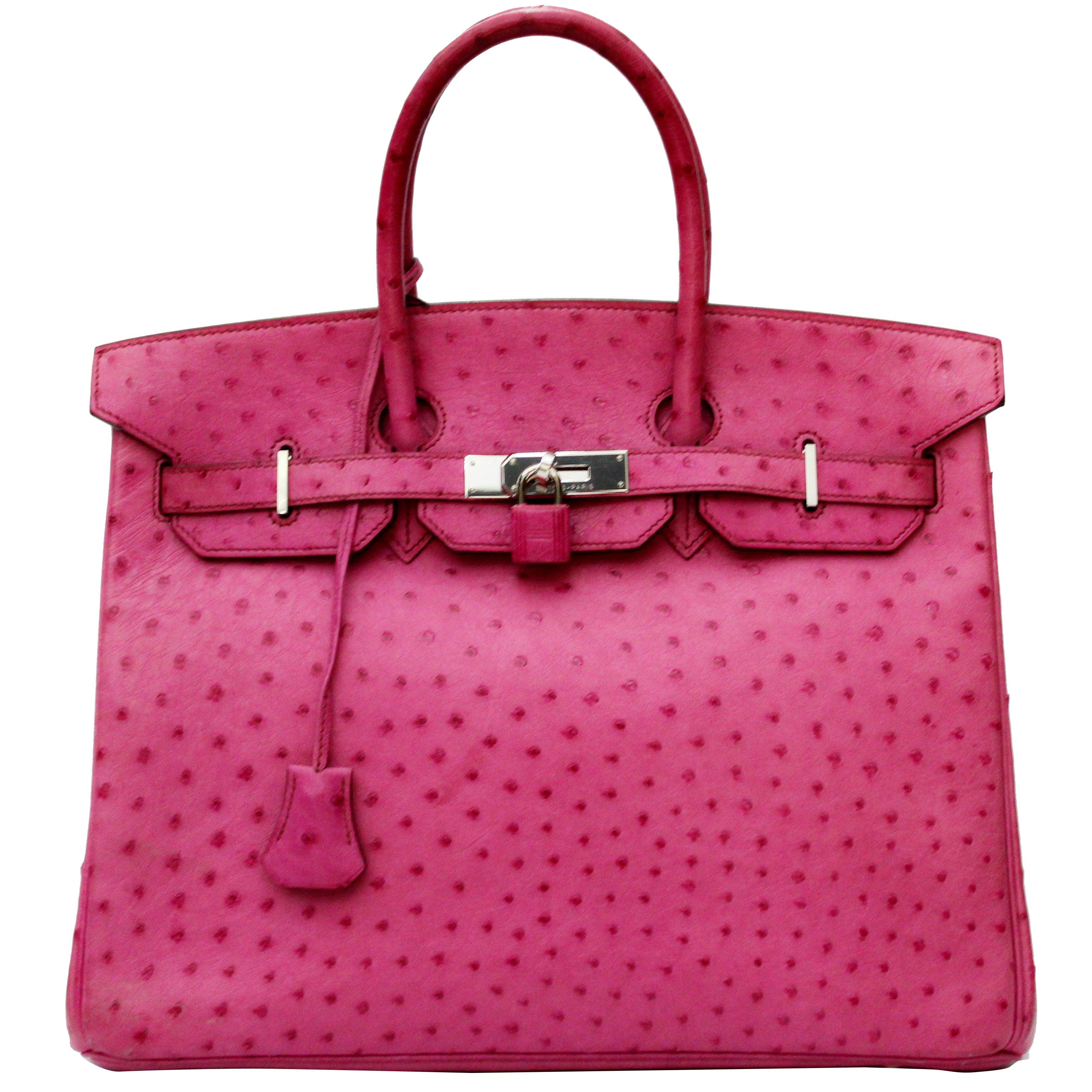 Hermes Pink Ostrich Leather 35cm Birkin Bag 2c2e3c414af8f