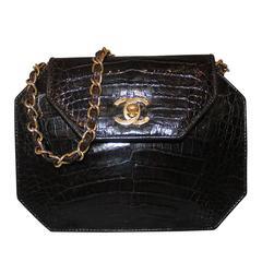 Chanel Chocolate Brown Crocodile Handbag