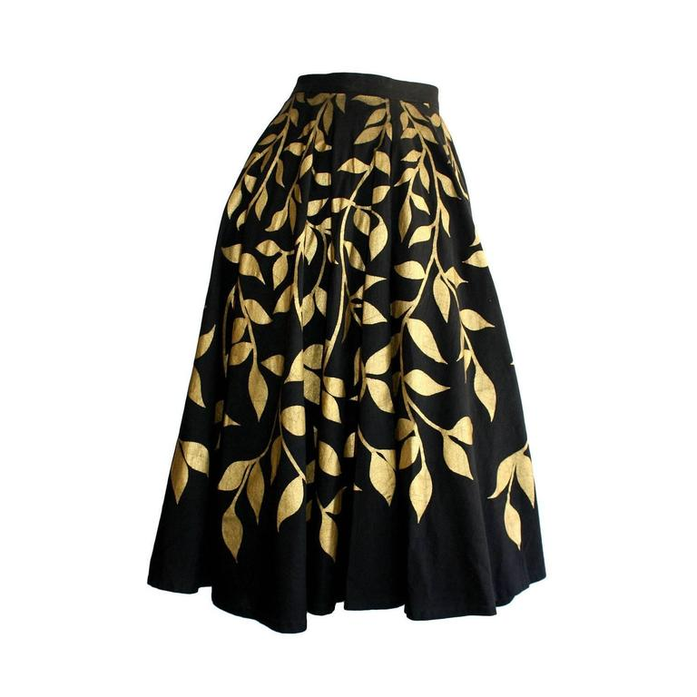 1950s Londy of Mexico Black & Gold Hand Painted Foliage Mexico Circle Skirt For Sale