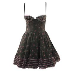 1980s Yvan and Marzia Black Floral Lace Dress
