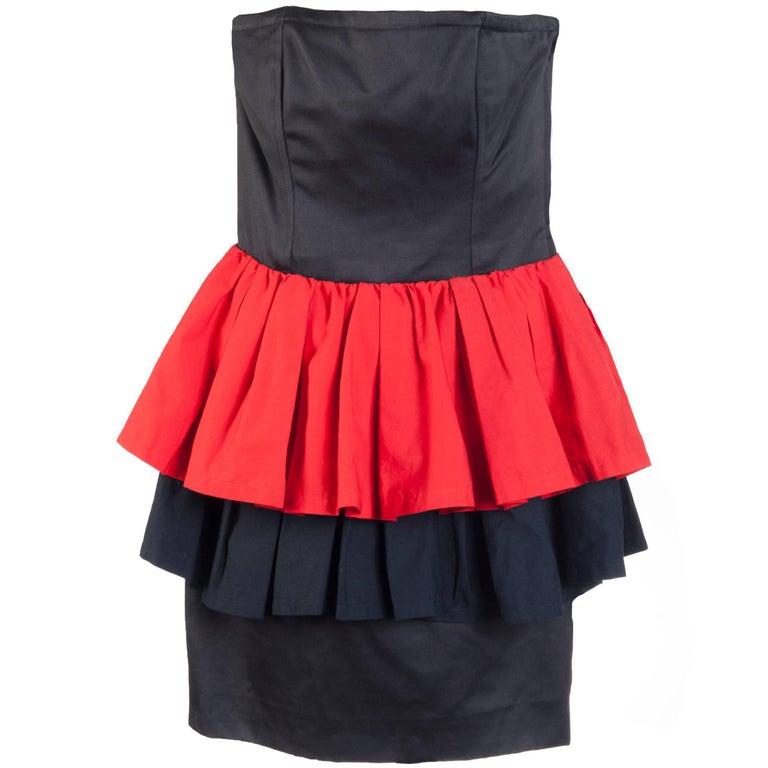 Yves Saint Laurent Vintage Red and Black Strapless Ruffle Mini Dress, 1990s