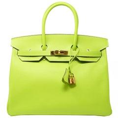 Hermes Birkin Bag 35cm Candy Kiwi with Gold Hardware