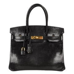 bbbc6966406f Hermes 30 Birkin Bag Black Lizard Gold Hardware RARE
