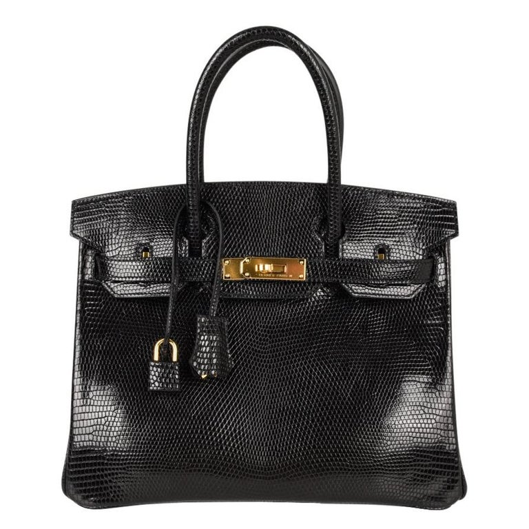 Hermes 30 Birkin Bag Black Lizard Gold Hardware RARE 1