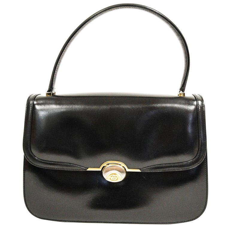 1960s Gucci Black Leather Top Handle Handbag with Crescent Lock