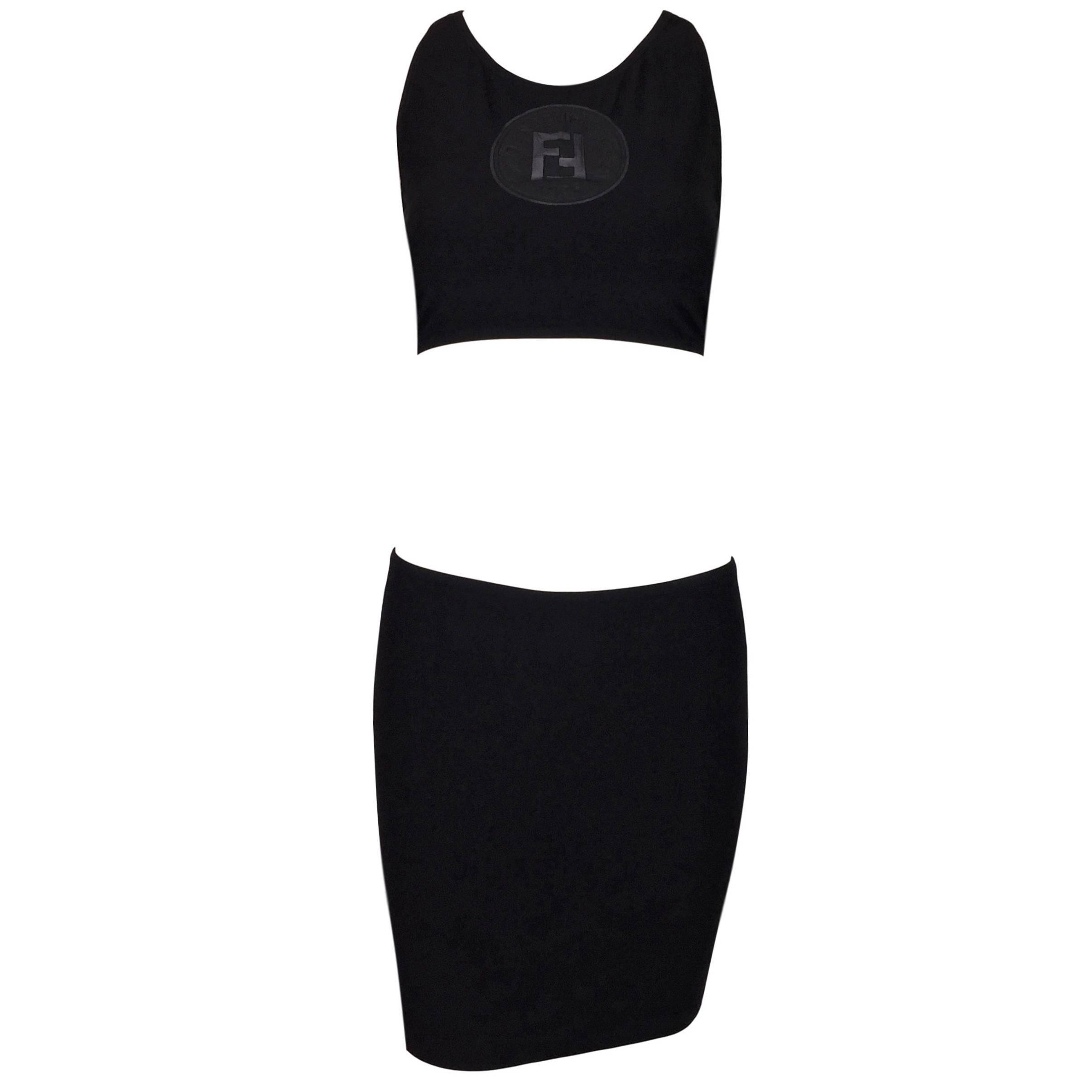 754ca1634ba NWT 1990 s Fendi Black Sheer Monogram Logo Crop Top and Mini Skirt at  1stdibs