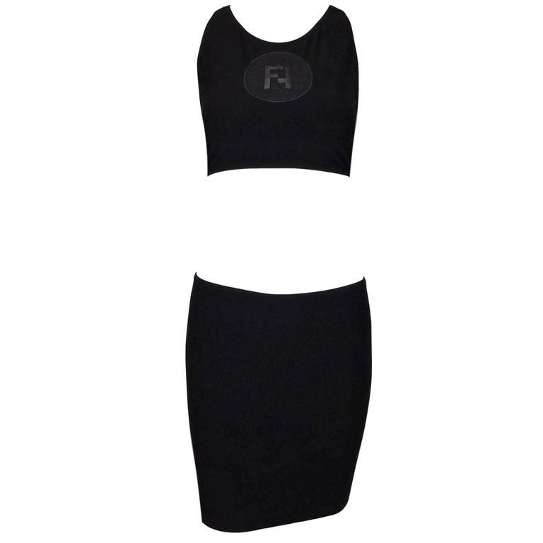 NWT 1990's Fendi Black Sheer Monogram Logo Crop Top & Mini Skirt