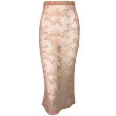 1997 Dolce & Gabbana Sheer Nude Fishnet Embroidered Mesh Pencil Skirt