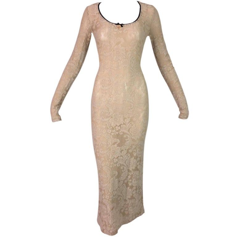 1998 D&G by Dolce & Gabbana Sheer Nude Fishnet Lace Mary Charm Long Dress