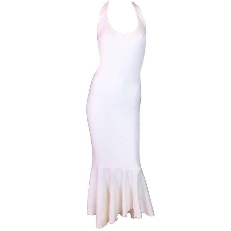 S/S 2001 Dolce & Gabbana Runway Pin-Up Ivory Halter Long Mermaid Dress