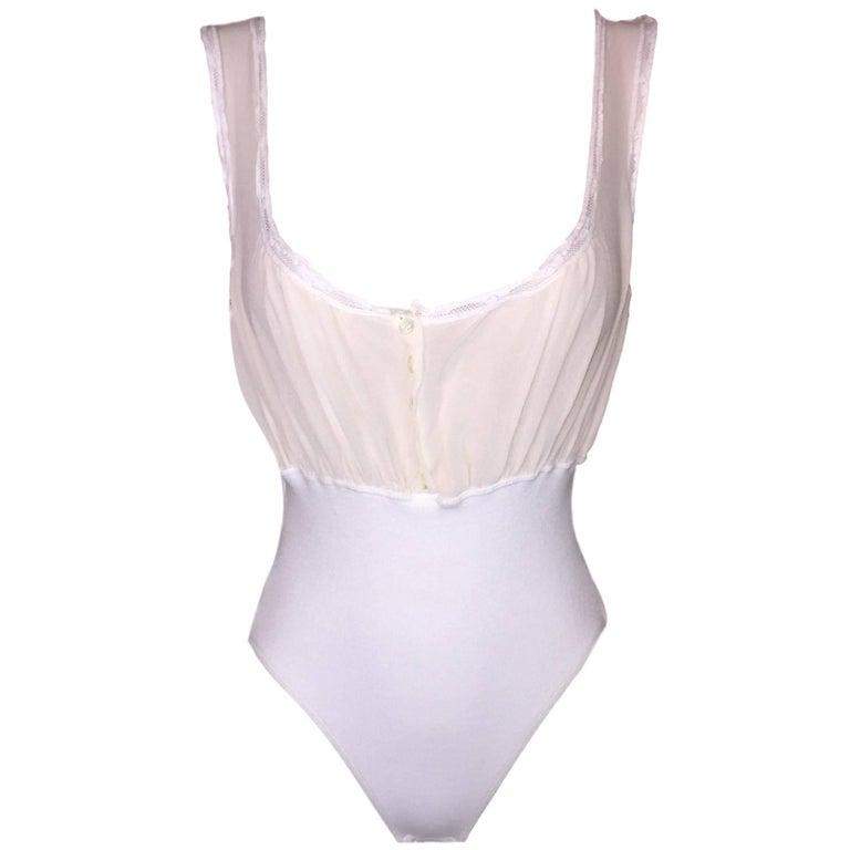 1990's Dolce & Gabbana Sheer Ivory & White Silk Bodysuit Top For Sale