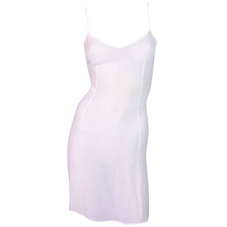 C. 1999 Dolce & Gabbana Sheer Ivory Slip Mini Dress 38/40