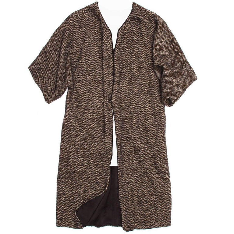 Lanvin Brown Multicolor Herringbone Overcoat