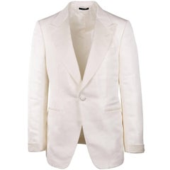 Tom Ford Ivory Silk Blend Peak Lapel Shelton Cocktail Jacket