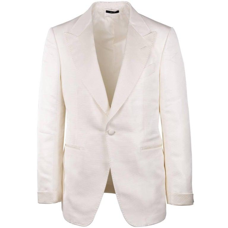 Tom Ford Ivory Silk Blend Peak Lapel Shelton Cocktail Jacket
