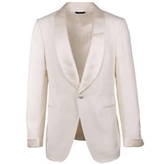 Tom Ford Ivory 100% Silk Shawl Lapel Shelton Cocktail Jacket