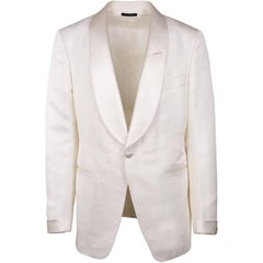 Tom Ford Men Ivory Silk Blend Shawl Lapel Shelton Cocktail Jacket