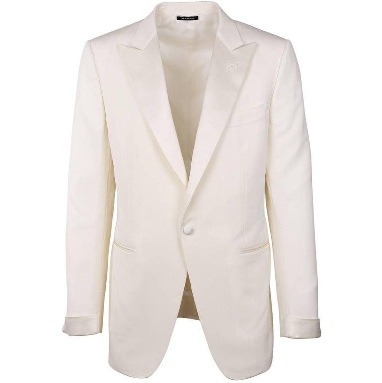 Tom Ford Ivory Wool Blend Peak Lapel OConnor Cocktail Jacket