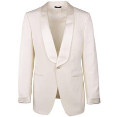 Tom Ford Ivory Wool Blend Shawl Lapel OConner Cocktail Jacket Sz 50/40R RTL$4250