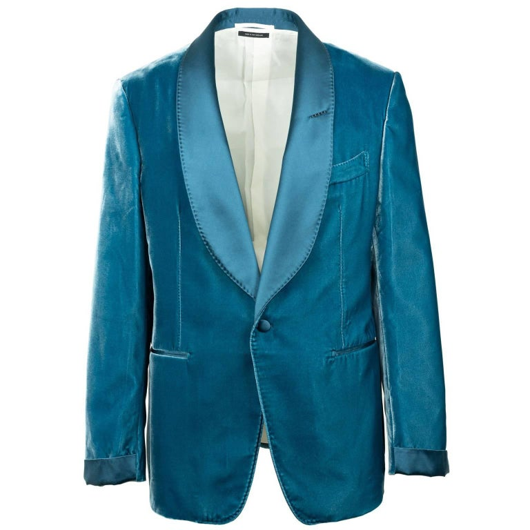 Tom Ford Aqua Blue Velvet Shawl Lapel Shelton Cocktail Jacket Sz54R/44R RTL$3980