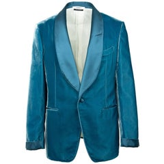 Tom Ford Aqua Blue Velvet Shawl Lapel Shelton Cocktail Jacket 56R/46R RTL $3980