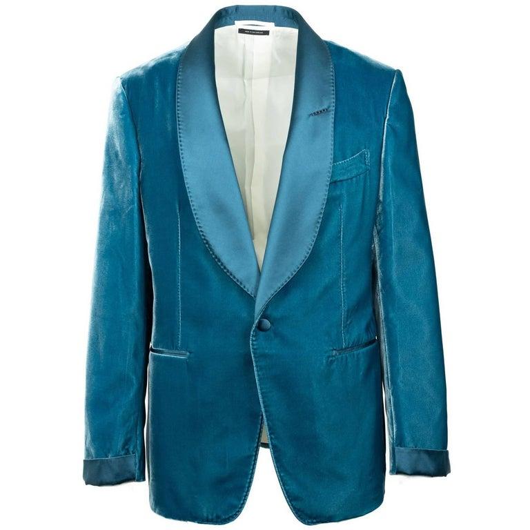 Tom Ford Aqua Blue Velvet Shawl Lapel Shelton Cocktail Jacket 56R/46R RTL $3980